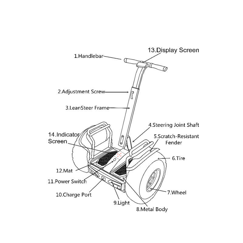 Durable 21 Inch Segway Electric Scooter With Double Battery And App Control